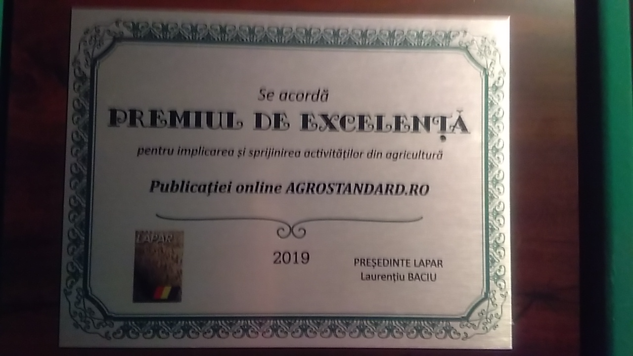 Premiu de excelenta pentru AGROSTANDARD