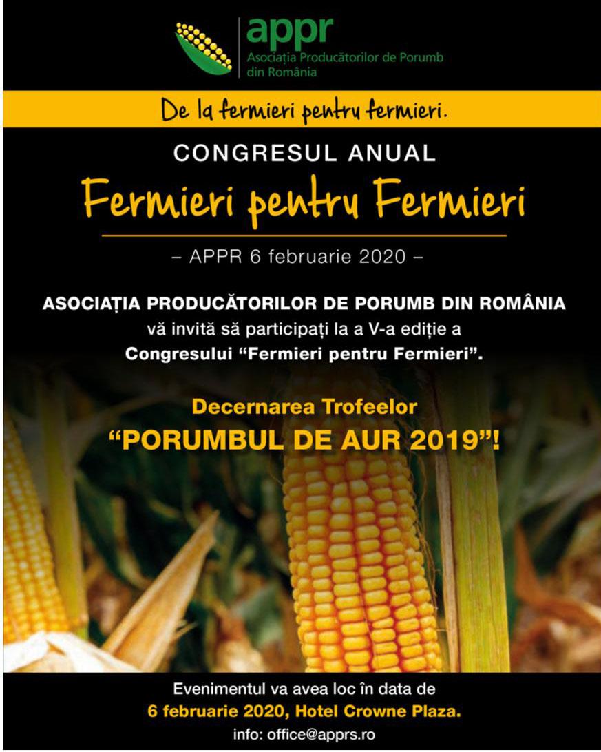 """APPR organizeaza a V-a editie a congresului """"De la fermieri pentru fermieri"""""""
